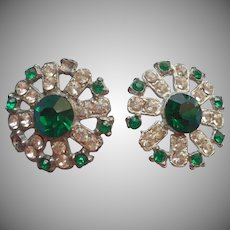 Vintage Buttons Green Clear Rhinestones 1940s to1950s