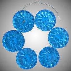 Vintage Large Glass Buttons Set 6 Bright Turquoise Blue Capri Blue