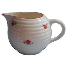 Vintage Czech Art Deco China Milk Pitcher Cream Red Flowers Trim Blue