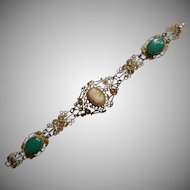 Vintage Bracelet Shell Cameo Glass Filigree Imitation Chrysoprase
