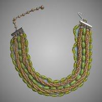 Vintage Glass Necklace Beads Green 1950s Japan Multi Strand
