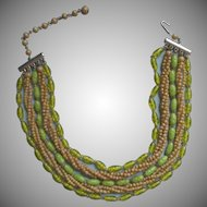 Vintage Glass Necklace Beads Green 1950s Japan Multi Strand