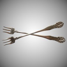 Monogram S Antique Silver Plated Seafood Forks Leonora 1905 Use For Olives Etc
