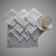 Vintage Tea Napkins Hand Embroidery Cutwork Linen Ice Blue White Baskets