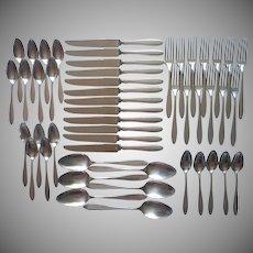 Vintage 1920s Set 12 Place Settings Silver Plated Flatware Plain Simple