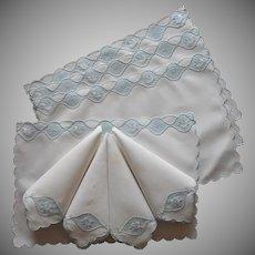 Madeira Placemats Napkins Set Vintage Linen Blue Roses Hand Embroidery Applique