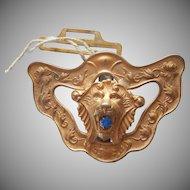 Antique Buckle Lion Head Circa 1900 Blue Glass Stone