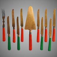French Art Deco Brass Celluloid Dessert Flatware Knives Server Fork TLC Delvaux