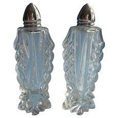 Vintage Cut Glass Shakers Tall Pair Salt Pepper Chrome Lids