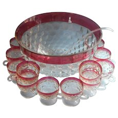 Ruby Crown Vintage Punch Bowl Footed Cups Set Cranberry Pink Whitehall  Unused