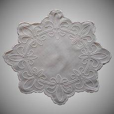 Fleur De Lis Antique Doily Linen As Is Charming Repairs Ric Rac