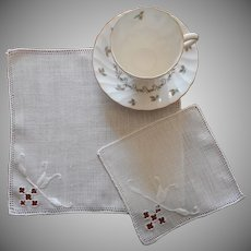 Cocktail Napkins Vintage 1920s to 1940s Linen Italian Work Tea Napkins