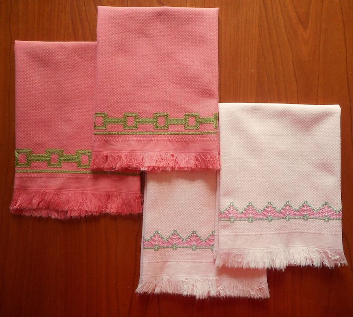 Swedish Embroidery Vintage Guest Hand Towels Pink Green Mercy
