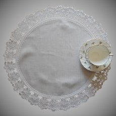 Antique Centerpiece Doily Linen Crocheted Lace Frame