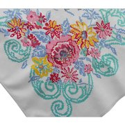 Vintage Tablecloth Printed Kitchen Cotton Aqua Pink Blue Yellow