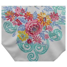 Vintage Tablecloth Printed Kitchen Cotton Aqua Pink Blue Yellow
