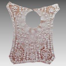 Antique Irish Crochet Lace Bib Collar ca 1910 to 1920