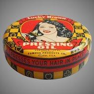 Lucky Brown Pressing Oil Tin Vintage Black Americana