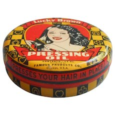Lucky Brown Pressing Oil Tin Vintage Black Americana