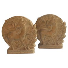 1930s Bookends Vintage Syrcoco Art Deco Fawns Leaves Wood Deer