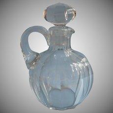 Antique Decanter Jug Handsome Simple Cut Glass Massive Stopper