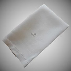 Monogram K Antique Linen Damask Hand Towel