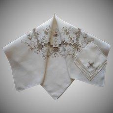 Tea Tablecloth Set Vintage Unused Italian Work Hand Embroidery Ecru 6 Napkins