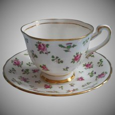 Vintage Roses Thistles Royal Chelsea Cup Saucer Hand Painted Bone China England
