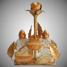 Vintage Italian Gold Tole Metal Rose Caddy Italy Crystal Shakers Set Salt Pepper