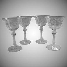 Cherokee Rose Cocktail Glasses 4 Vintage Etched Elegant Glass Tiffin