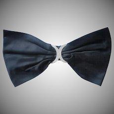 Vintage 1960s Big Black Satin Bow for Dress Rhinestone Buckle