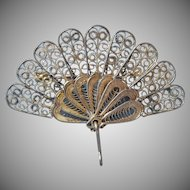 Filigree Fan Pin Vintage Silver Colored Wire Work