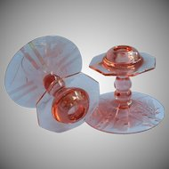 Pink Depression Glass Candlecticks Pair Vintage Pretty Cut Decoration