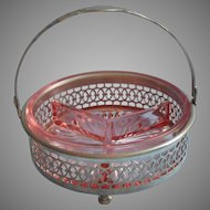 Pink Depression Era Relish Basket Glass Pierced Metal For Tea Luncheon Table Divided