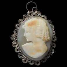 Vintage Cameo Carved Shell Italy Souvenir Wire Work Frame - Red Tag Sale Item