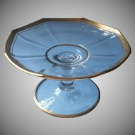 1920s Bonbon Stand Tazza Compote Vintage Glass Gold Trim