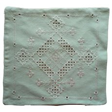 Vintage Hardanger Pillow Cover Jadeite Green 1920s Hand Embroidered