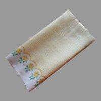 Vintage Tea Towel Printed Linen Blend Yellow Stripes Roses