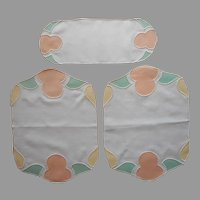 1920s Vanity Doilies Set Unused Appliqued Peach Green White Yellow