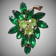Vintage Pin Green Rhinestones Leaf Form