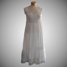 Antique Cami Petti All In One Camisole Petticoat 1910s Lace Cotton