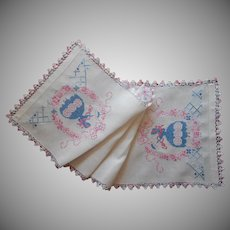 Southern Belle Vintage Linen Runner Pink Blue Hand Embroidery Lace