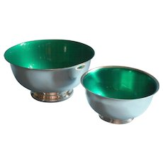 Vintage Green Enamel Lined Silver Plated Bowls Bowl Nuts Candy Pretzels - Red Tag Sale Item