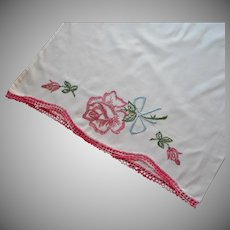 Vintage Pillowcase Hand Embroidered Pink Rose Blue Bow Crocheted Lace