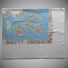 Vintage Tablelcoth Big Printed Kitchen Cotton Blue White Floral 81 x 65