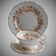 Grosvenor Cambridge Pink Gold Vintage Trio Cup Saucer Tea Plate English Bone China
