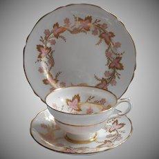 Grosvenor Cambridge Pink Gold Vintage Trio Cup Saucer Tea Plate English Bone China