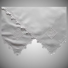 Antique French Tray Cloth Pair Monogram B W A Entwined Linen White Work Hand Embroidered