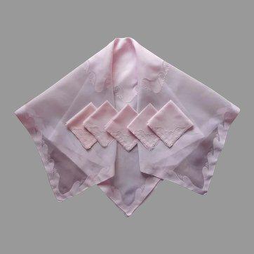 Pink Madeira Organdy Linen Vintage 1950s Luncheon Tablecloth Set 5 Napkins