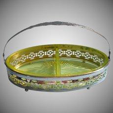 Vintage Vaseline Glass Divided Relish Basket In Chrome Frame
